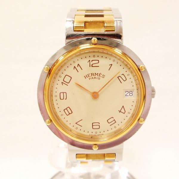 エルメス Hermes クリッパー メンズ クオーツ アイボリー文字盤 時計 腕時計 ★送料無料★【中古】【あす楽】