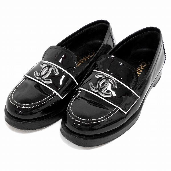 シャネル CHANEL ココマーク パテントレザー エナメル ブラック G31420 靴 ローファー レディース 小物 ★送料無料★【中古】【あす楽】