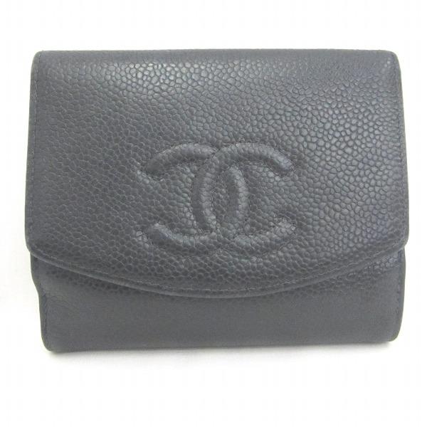 シャネル CHANEL キャビアスキン Wホック 財布 二つ折り財布 ブラック ★送料無料★【中古】【あす楽】