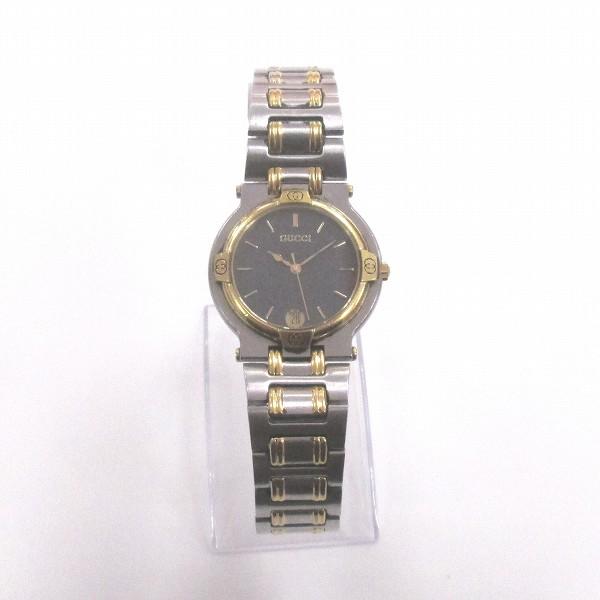 グッチ GUCCI ブラック文字盤 コンビカラー クォーツ 9000M 時計 腕時計 ボーイズ ★送料無料★【中古】【あす楽】
