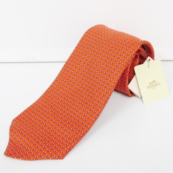 エルメス Hermes シルク ネクタイ オレンジ ブランド小物 メンズ 未使用 ★送料無料★【中古】【あす楽】