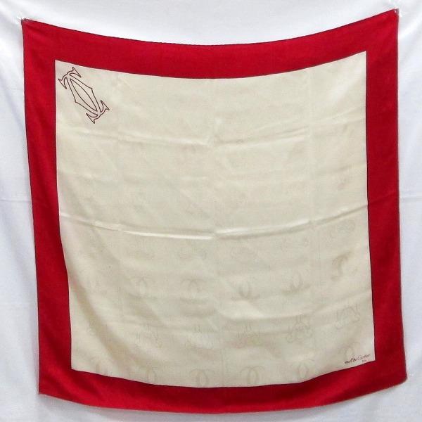 カルティエ Cartier シルク 赤×ベージュ ロゴ入り スカーフ ファッション小物 スカーフ レディース ★送料無料★【中古】【あす楽】