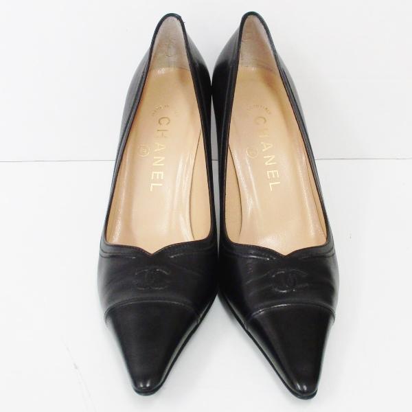 シャネル CHANEL レザー ロゴ パンプス ブラック 36 1 2C ファッション小物 靴 レディース ★送料無料★【中古】【あす楽】
