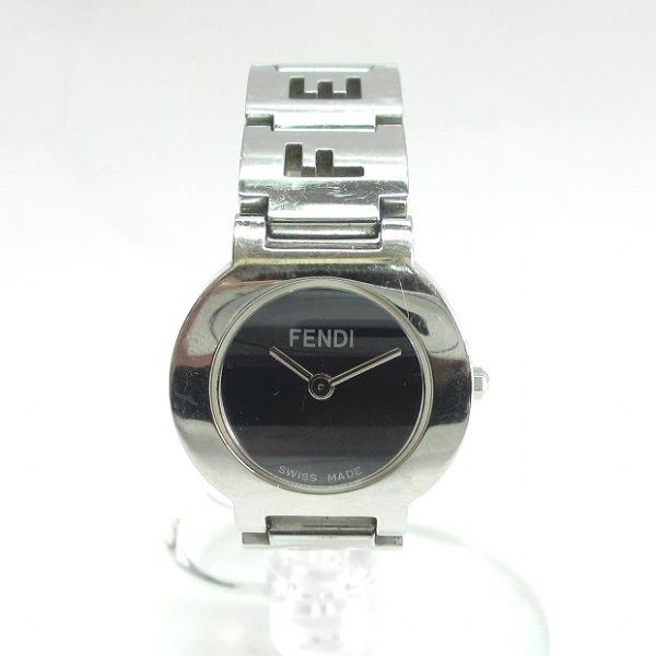 フェンディ FENDI 3050L クォーツ ブラック シルバー 時計 腕時計 レディース ★送料無料★【中古】【あす楽】