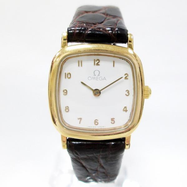 オメガ デビル 時計 腕時計 レディース クオーツ ホワイト文字盤 ★送料無料★【中古】【あす楽】