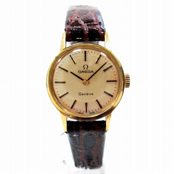 オメガ ジュネーブ 時計 腕時計 手巻き レディース ゴールド文字盤 ★送料無料★【中古】【あす楽】
