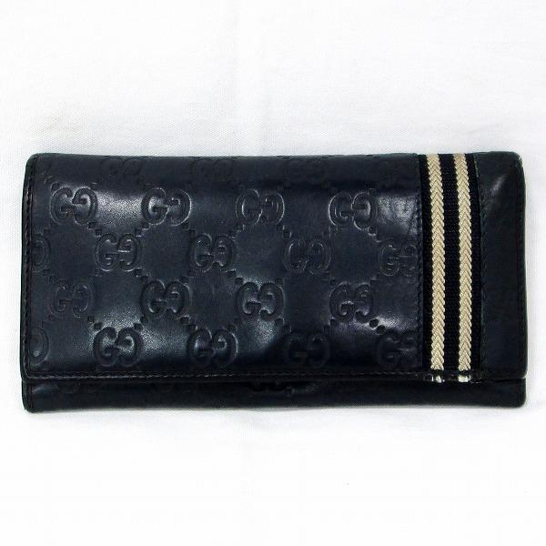 グッチ GUCCI シマライン 212186 財布 二つ折り長財布 メンズ ネイビー ★送料無料★【中古】【あす楽】