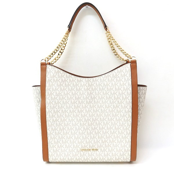 2e7ee78092c052 [brand] Michael Kors [model number] 35F8GNOE2B [serial number]─ [color]  White, brown [material] PVC, leather [specifications] The outside: There is  no ...