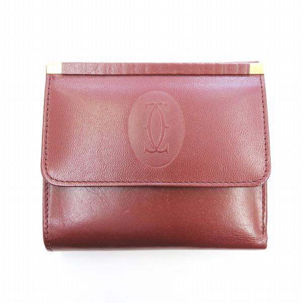 カルティエ Cartier マストライン 両面財布 ボルドー 財布 二つ折り財布 ユニセックス ★送料無料★【中古】【あす楽】