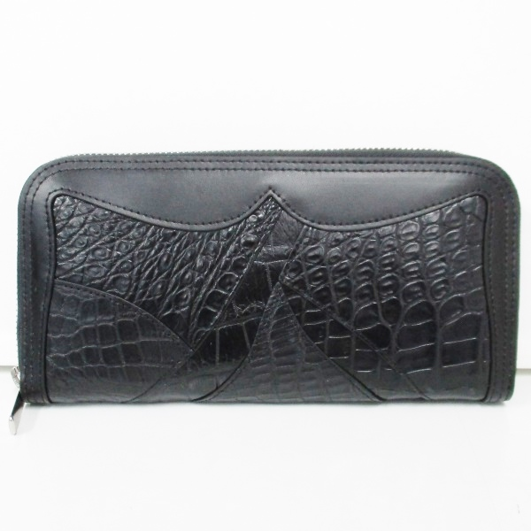 クロコダイル ラウンドファスナー 長財布 ブラック メンズ 小物 ★送料無料★【中古】【あす楽】