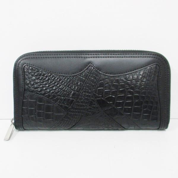 デザインクロコ ラウンドファスナー 長財布 ブラック メンズ 未使用 小物 ★送料無料★【中古】【あす楽】