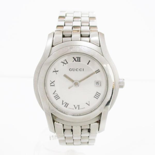 グッチ GUCCI 5500L デイト クオーツ シルバー×ホワイト 時計 腕時計 レディース ★送料無料★【中古】【あす楽】