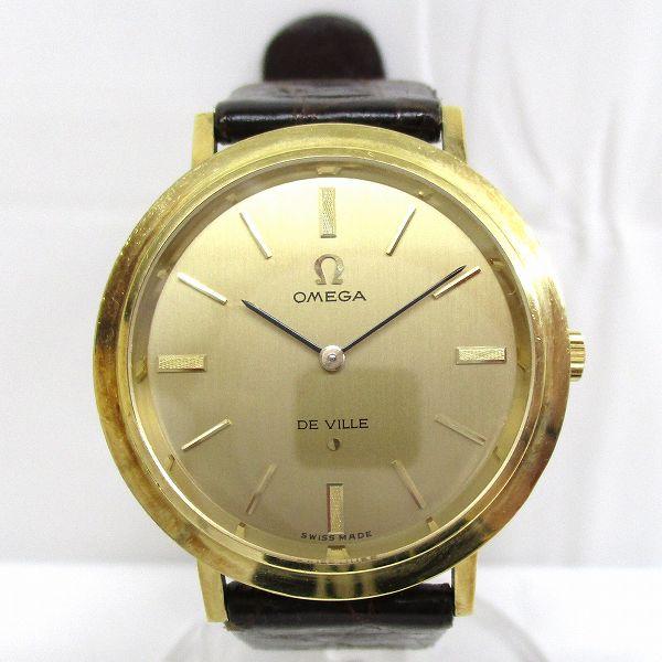 オメガ デビル K18YG レザー 手巻き 時計 腕時計 メンズ ★送料無料★【中古】【あす楽】