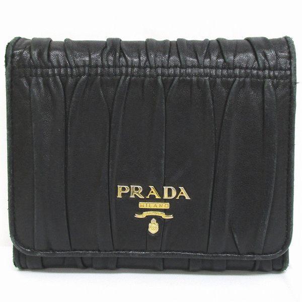 プラダ PRADA ギャザー ウォレット ブラック 1M0176 財布 三つ折り財布 レディース ★送料無料★【中古】【あす楽】