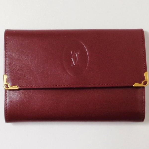 カルティエ Cartier マストライン ボルドー 財布 三つ折り財布 レディース ★送料無料★【中古】【あす楽】