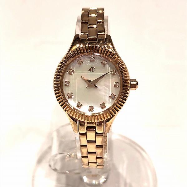 4℃ シェル文字盤 ダイヤ12P クォーツ 時計 腕時計 レディース ★送料無料★【中古】【あす楽】