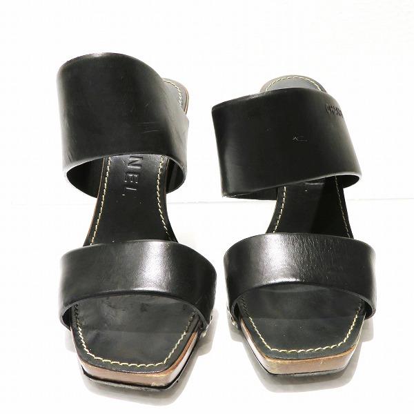 シャネル CHANEL レザー ブラック ウッド 靴 サンダル レディース 小物 ★送料無料★【中古】【あす楽】