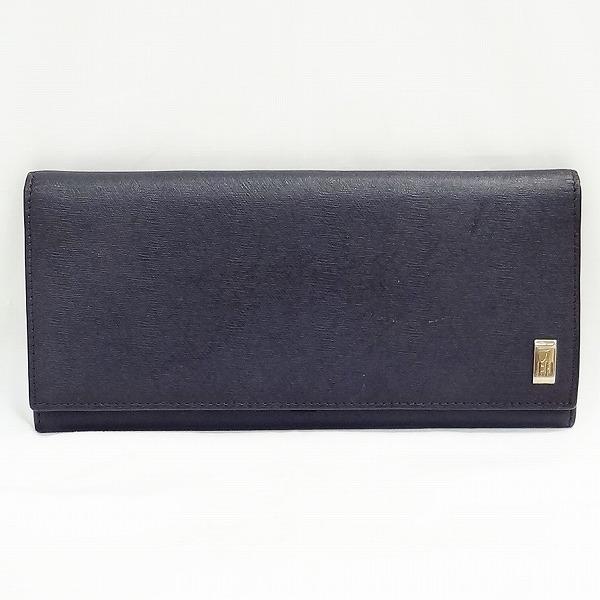 ダンヒル ブラック レザー シルバー金具 財布 二つ折り財布 メンズ ★送料無料★【中古】【あす楽】