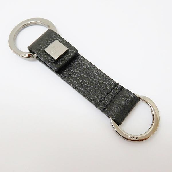 e0c16f08020 Gucci GUCCI key ring leather black brand accessory key ring men-free article