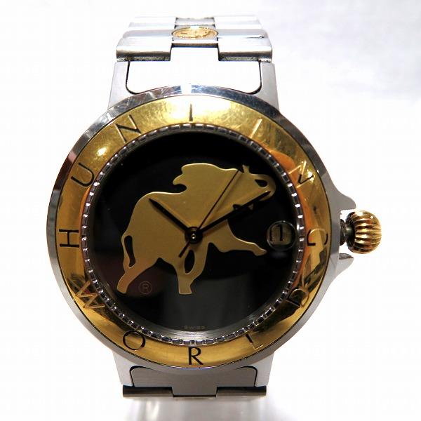 ハンティングワールド シグネチャー メンズ 自動巻 K18YGベゼル HWM12 時計 腕時計 メンズ ★送料無料★【中古】【あす楽】