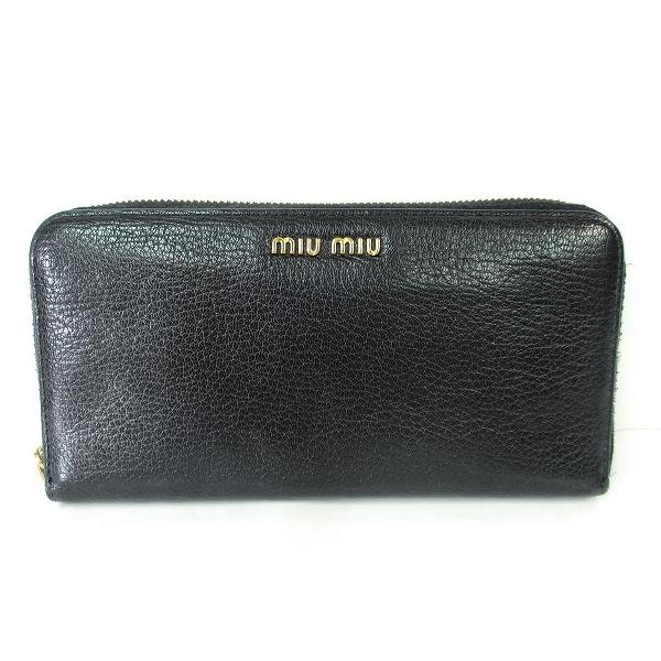 ミュウミュウ 5ML506 レザー ブラック ゴールド 財布 長財布 レディース ★送料無料★【中古】【あす楽】