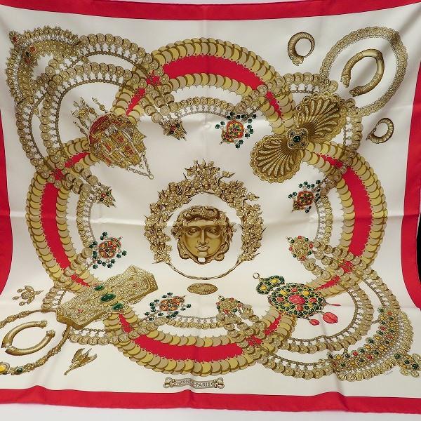 エルメス Hermes カレ シルク100% 赤×白 ファッション小物 スカーフ レディース ★送料無料★【中古】【あす楽】