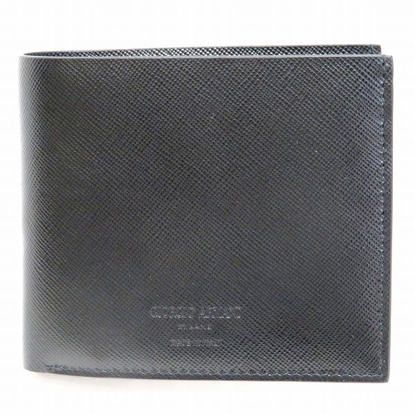 ジョルジオ アルマーニ 2つ折り レザーお札入れ ブラック 財布 メンズ 未使用品 ★送料無料★【中古】【あす楽】