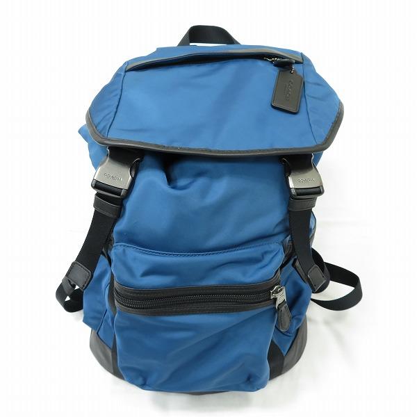 コーチ COACH ナイロントラックパック F71884 バッグ リュックサック メンズ ブルー ★送料無料★【中古】【あす楽】