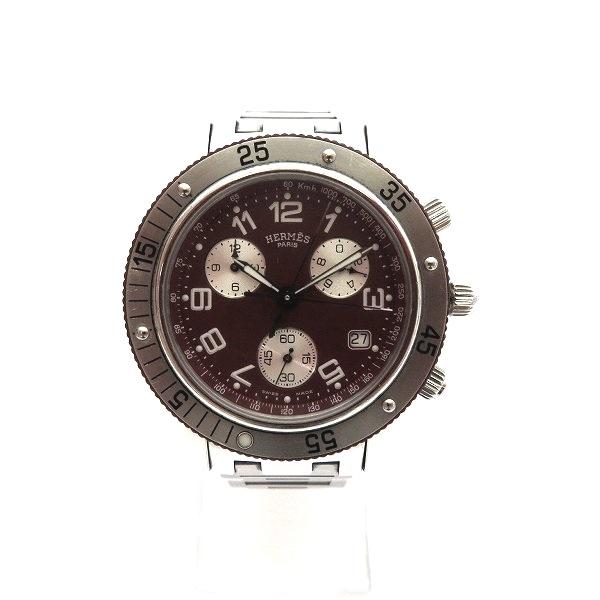 結婚祝い 中古ブランド時計 S10 エルメス Hermes クリッパー ダイバー クロノグラフ CL2.918 メンズ ボルドー 送料無料 あす楽 クォーツ 腕時計 最新アイテム 中古