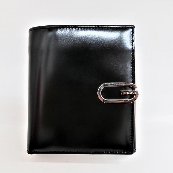 グッチ GUCCI ロゴ金具 ブラック レザー 財布 2つ折り ユニセックス ★送料無料★【中古】【あす楽】
