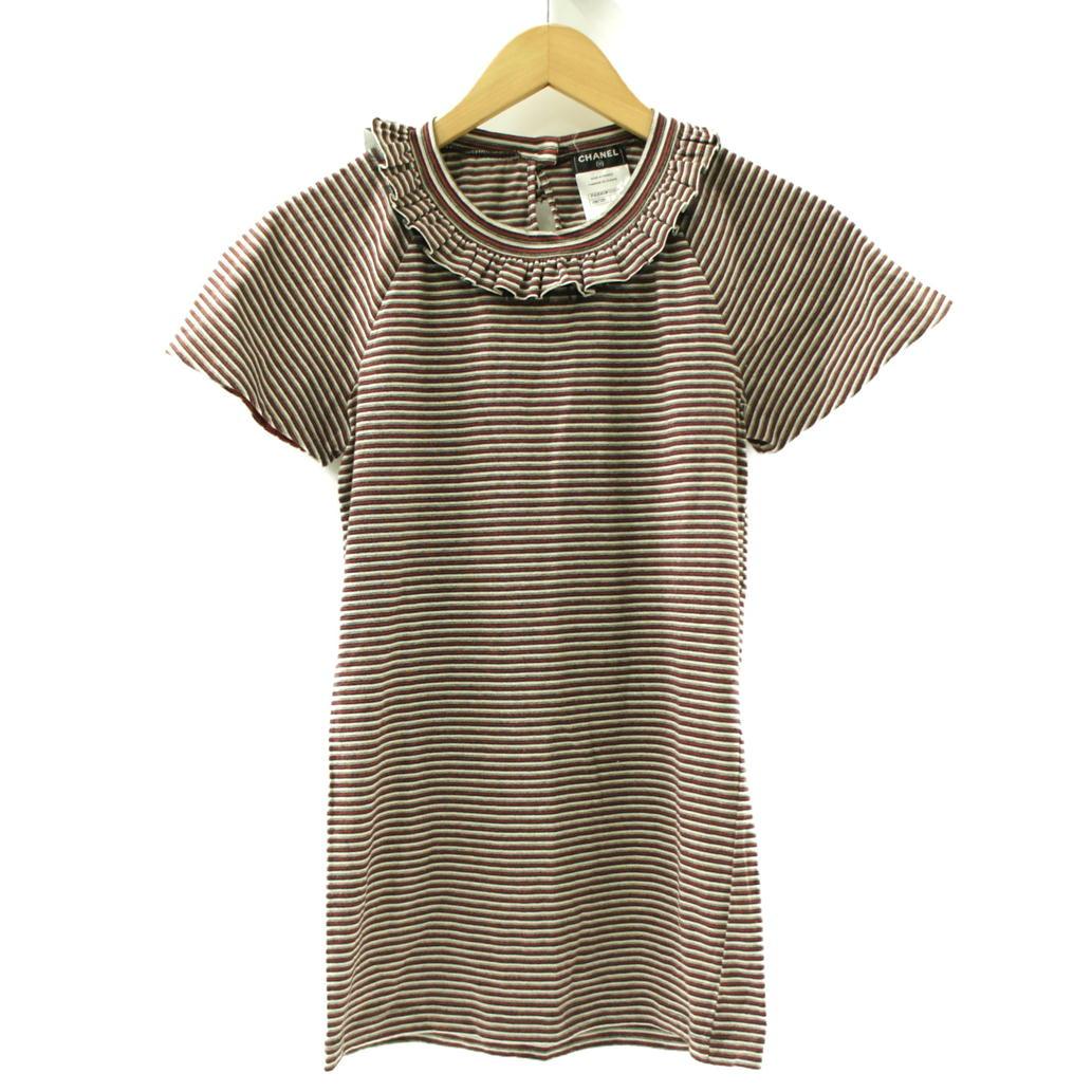 【Aランク】【サイズ:34】CHANEL シャネルボーダー Tシャツ カットソー【P42069K03211】【レディース】【中古】【75】