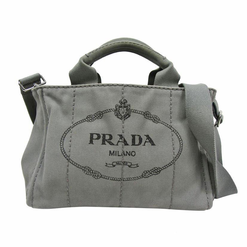 【ABランク】PRADA プラダ カナパ・ミニ 1BG439・197 グレー【ハンドバッグ】【2WAY】【レディース ○】【中古】【70】