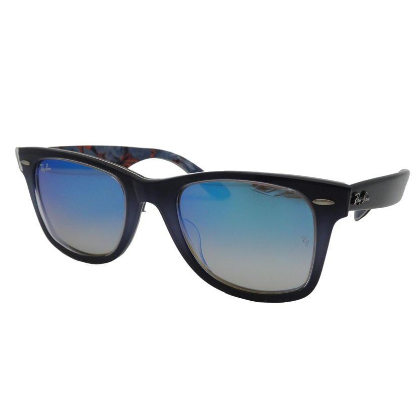 美品RayBan レイバン ウェイファーラー サングラスRB2140F ・1198 40 52□22 ブルーグラデーション、正面ブルーグラデ、ブラック服飾雑貨サングラスユニセックス メンズ レディースAランク9134AjL5qRc