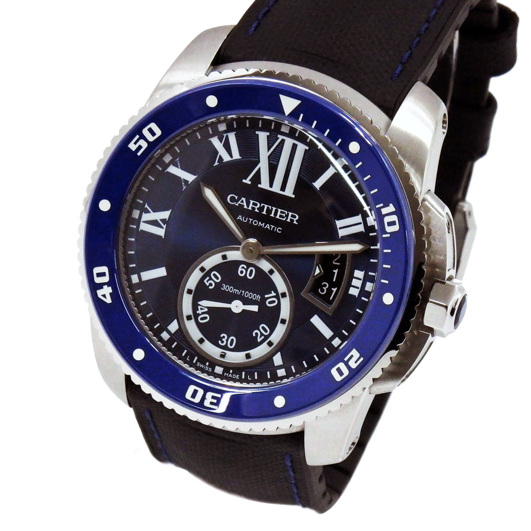 【ABランク】Cartier カルティエ カリブル ドゥ カルティエ ダイバー Ref. WSCA0010 オートマチック/自動巻き ネイビー文字盤 【安心の1年間保証】【メンズ □】【腕時計】【中古】【77】