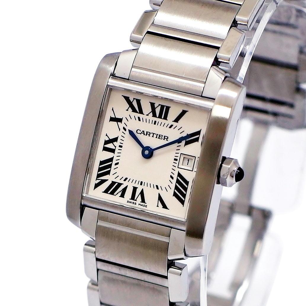 【美品】【Aランク】Cartier カルティエ タンクフランセーズ MM Ref. W51011Q3 クオーツ/電池式 ベージュ文字盤 【安心の1年間保証】【レディース ○】【腕時計】【中古】【75】