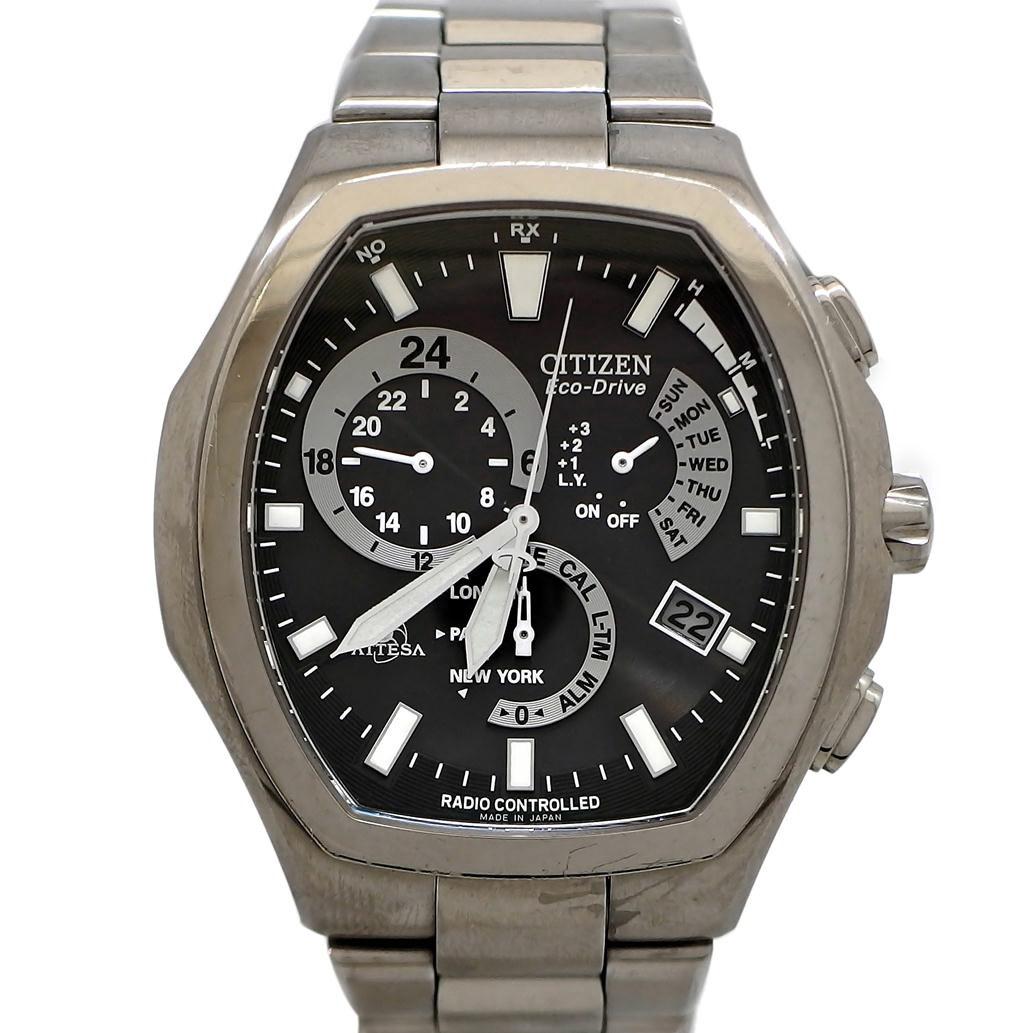 【Bランク】CITIZEN シチズン ATTESA アテッサ Ref. E600-T008381 電波ソーラー ブラック/黒文字盤 【安心の6ヶ月保証】【メンズ □】【腕時計】【中古】【72】