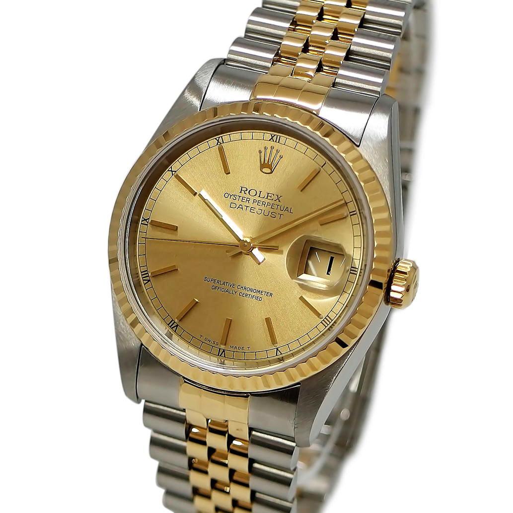 【ABランク】ROLEX ロレックス デイトジャスト Ref. 16233 W番 1994年 オートマチック/自動巻き ゴールド文字盤 【安心の1年間保証】【メンズ □】【腕時計】【中古】【69】