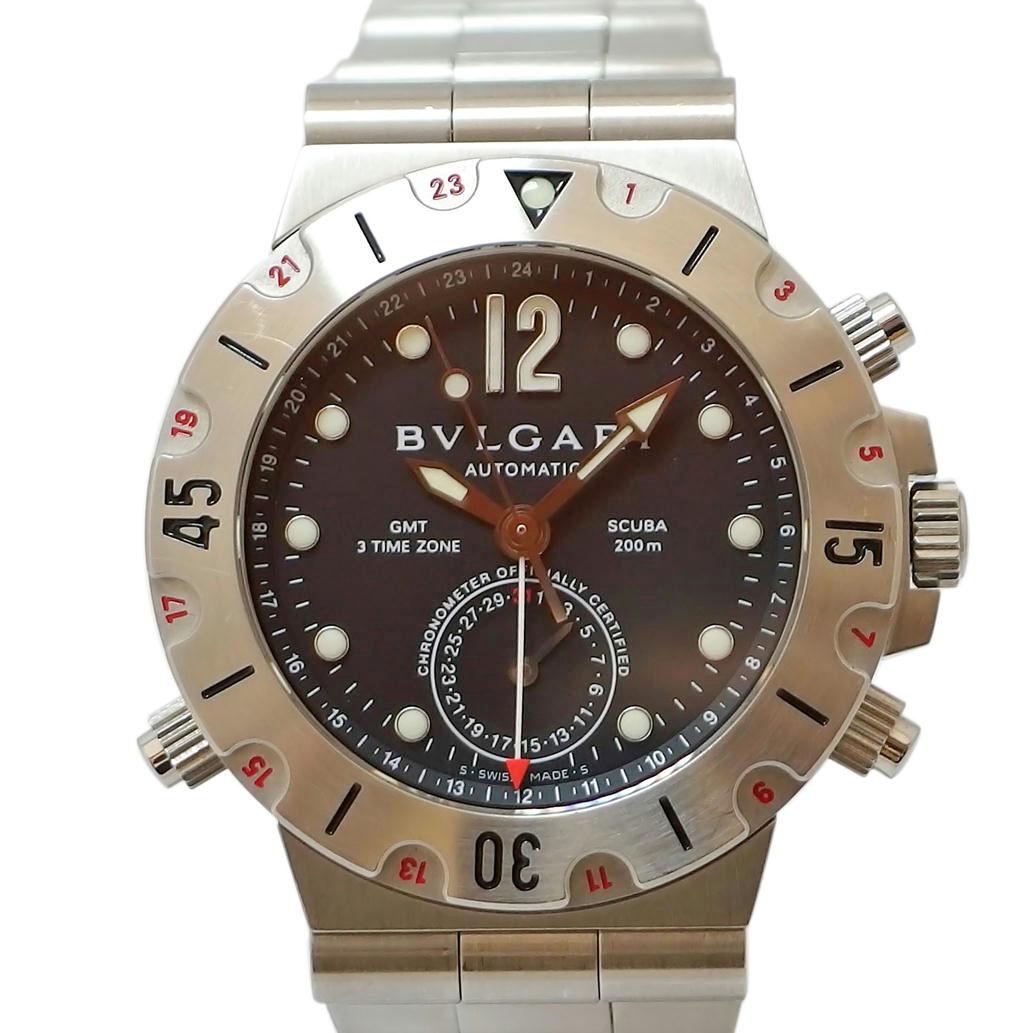 【美品】BVLGARI ブルガリ SCUBA スクーバ GMT Ref. SD38SGMT オートマチック/自動巻き ブラック/黒文字盤 【安心の1年間保証】【メンズ □】【腕時計】【中古】【Aランク】【90】▼