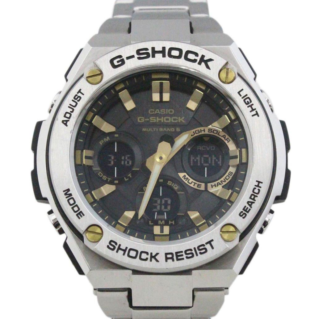 CASIO カシオ G-SHOCK G-STEEL スティール Ref. GST-W110D 電波ソーラー ブラック/黒文字盤 【安心の6ヶ月保証】【メンズ □】【腕時計】【中古】【ABランク】【72】