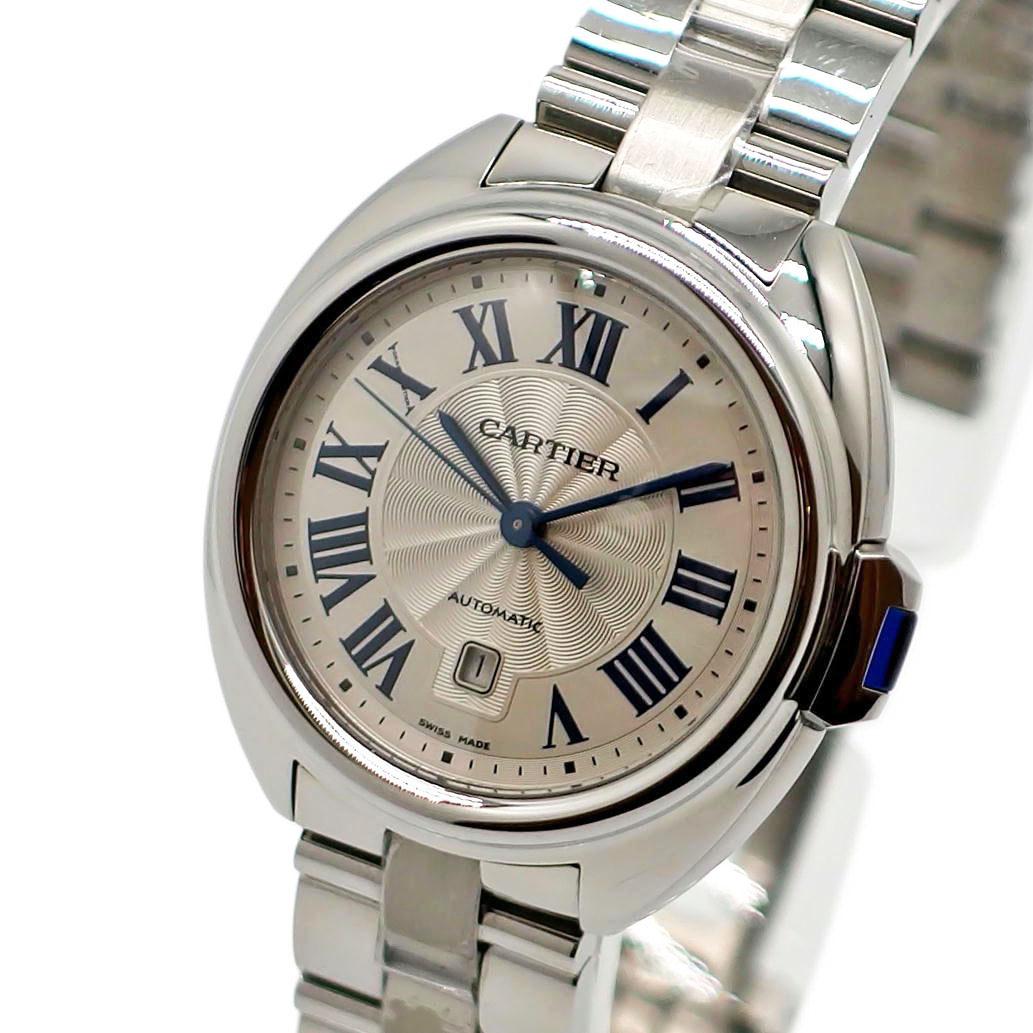 【美品】Cartier カルティエ クレ ドゥ カルティエ ウォッチ 31mm Ref. WSCL0005 オートマチック/自動巻き シルバー文字盤 【安心の1年間保証】【レディース ○】【腕時計】【中古】【Aランク】【91】