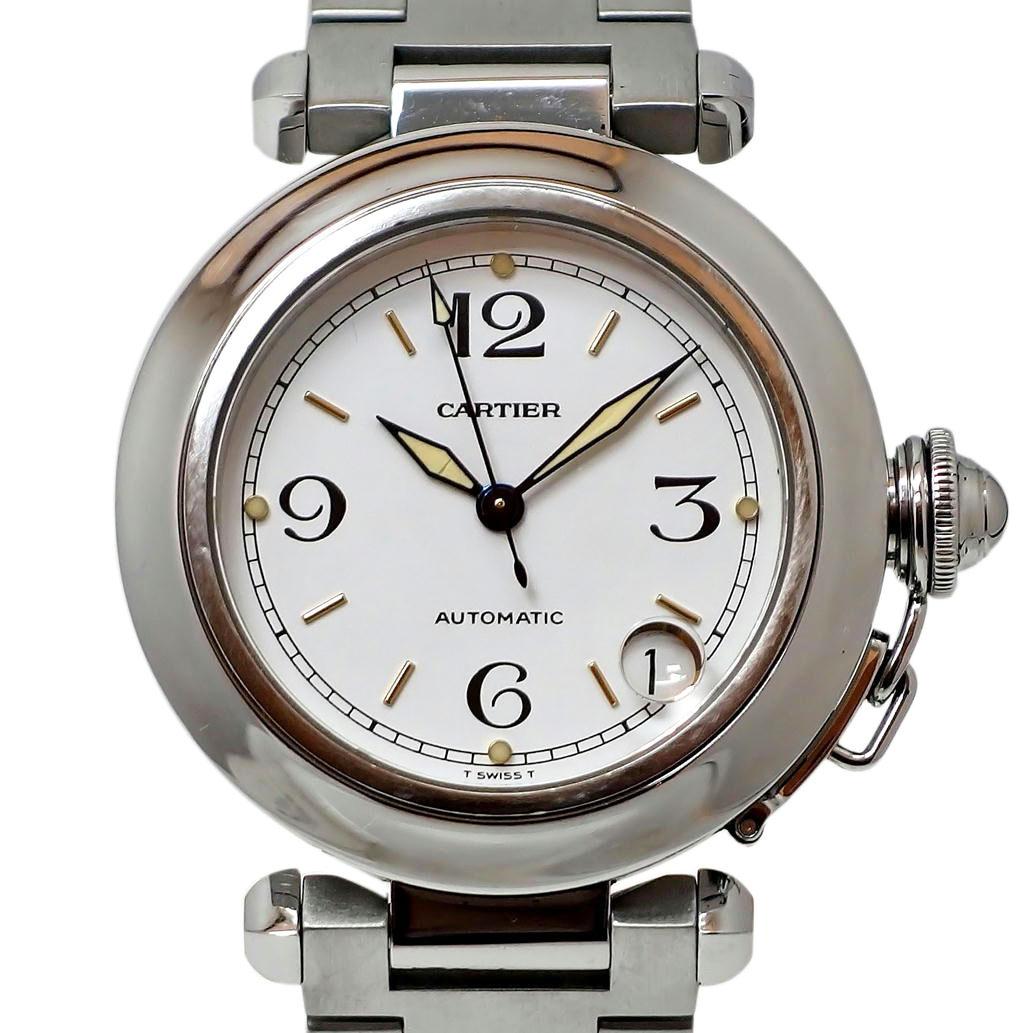 別倉庫からの配送 19516665-26K1E-9264950035135 Cartier カルティエ パシャC Ref. 2324 オートマチック 自動巻き 流行のアイテム 95 安心の1年間保証 中古 メンズ Bランク 腕時計 ホワイト文字盤