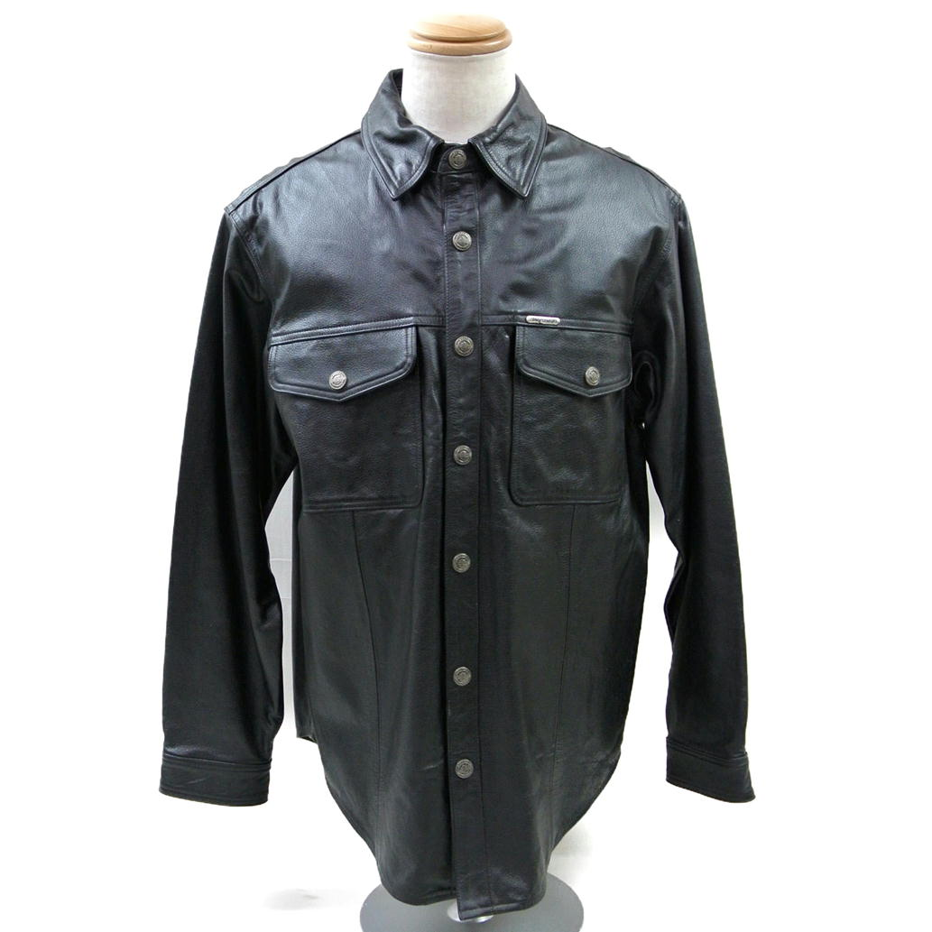 【Cランク】【サイズ:M】HARLEY DAVIDSON ハーレー ダビッドソンレザーシャツ CLASSIC LEATHER SHIRT【98111-98VM】【メンズ】【レザー/本革】【中古】【71】