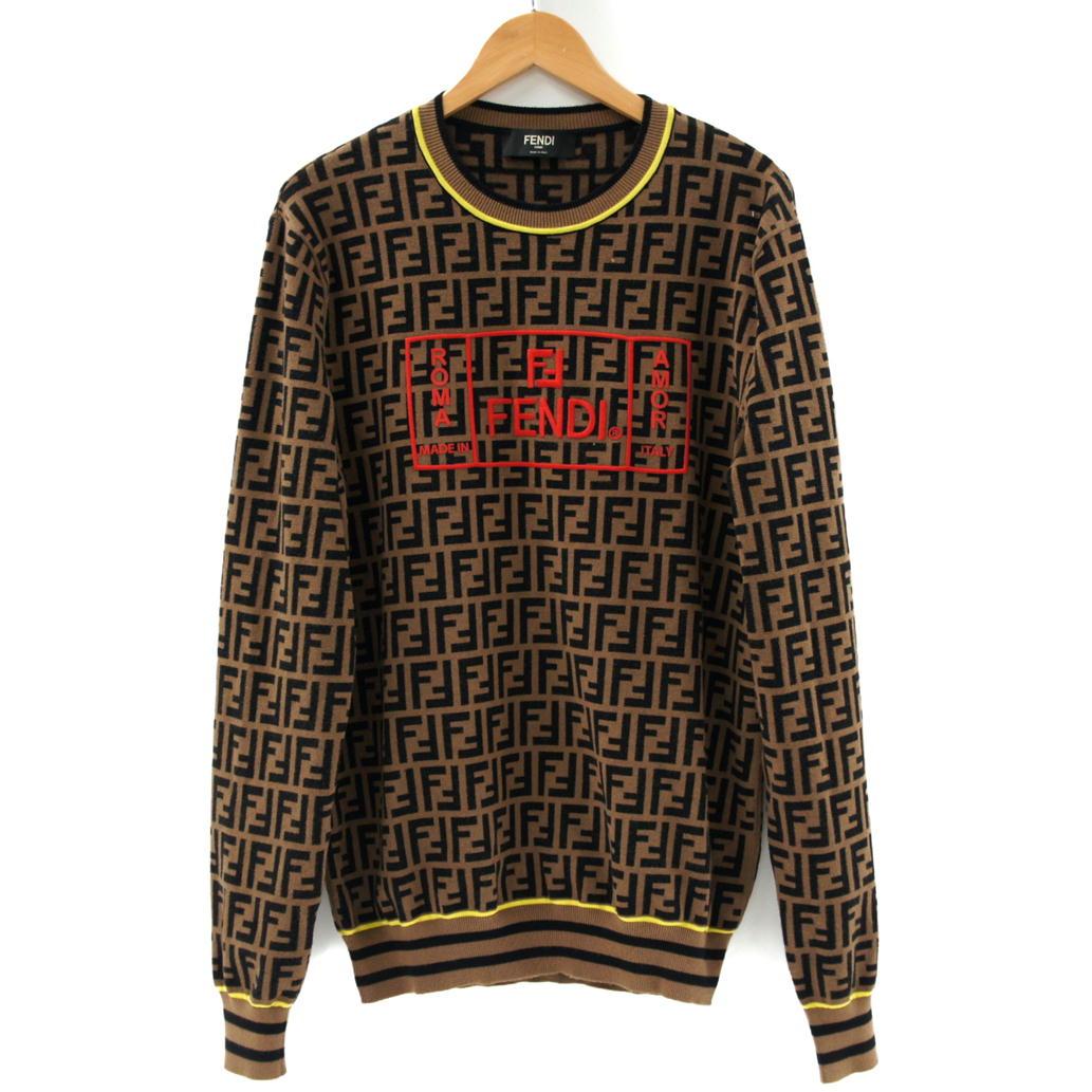 【Bランク】【サイズ:50】FENDI フェンディFFロゴ ブラウンファブリック セーター ニット【FZZ481 A8BJ】【メンズ】【長袖】【中古】【75】