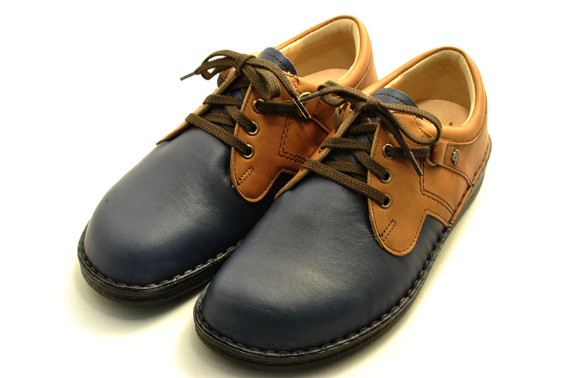 Finn Comfort フィンコンフォート VASSA 1000 バーサ 限定色 ダークブルー/ナッツ コンビ ドイツ靴の代表的なモデル 幅広 オブリックトゥのコンフォートシューズ