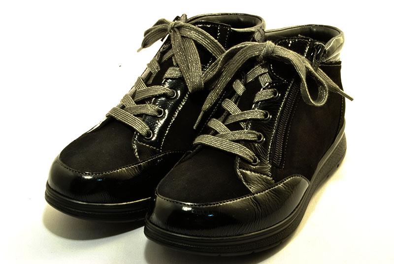 フィンコンフォート finncomfort 幅広甲高 ショートブーツ ARLES 3755 黒エナメル/黒ヌバック スーパーワイド