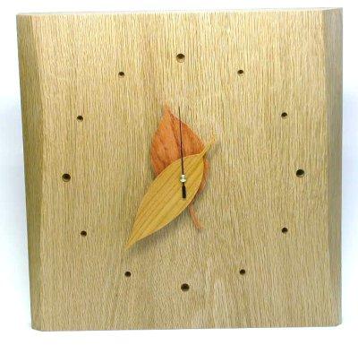 木製雑貨 木の時計木の葉時計