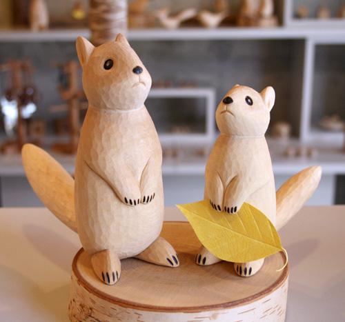 木彫り りす まちぼうけ りす うぃるびぃ工房 北海道 旭川クラフト
