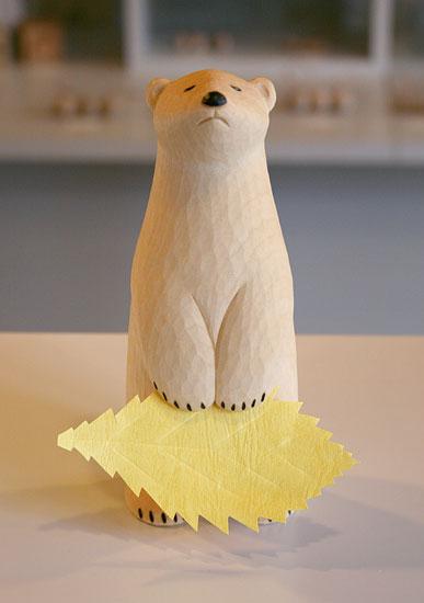 木彫り くま まちぼうけ しろくま うぃるびぃ工房 北海道 旭川クラフト