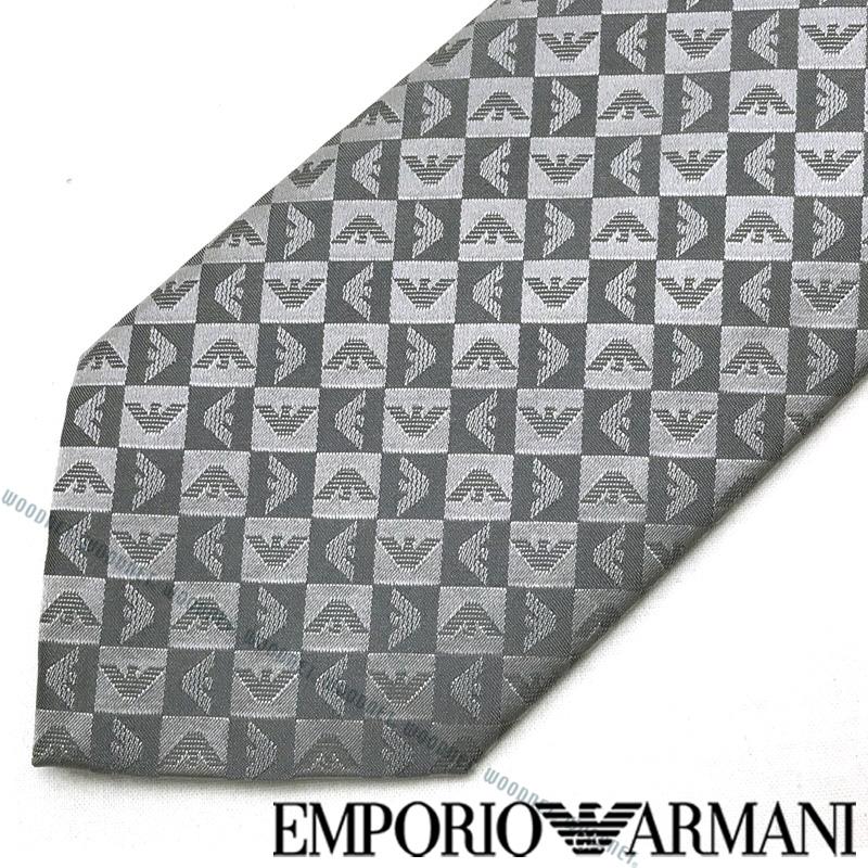 EMPORIO ARMANI ネクタイ エンポリオアルマーニ メンズ イーグルロゴ柄 シルク ライトグレー 340075-612-11341 ブランド