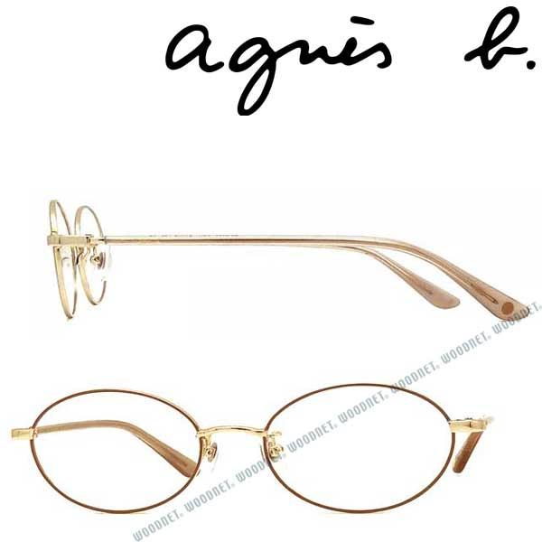 agnes b. メガネフレーム アニエスベー レディース ライトゴールド×ベージュ 眼鏡 AB-50-0033-01 ブランド